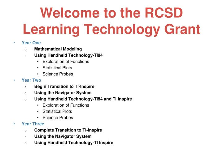 Welcome to the rcsd learning technology grant