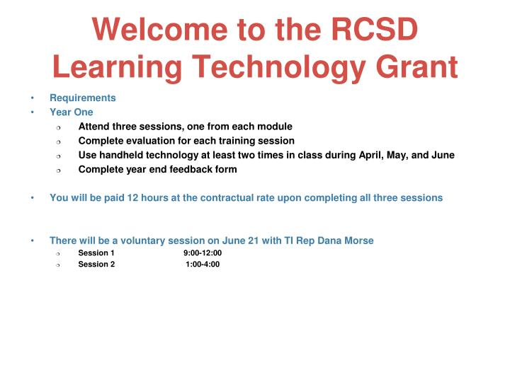 Welcome to the rcsd learning technology grant1