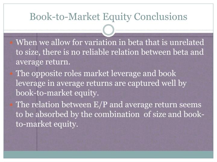 Book-to-Market Equity Conclusions
