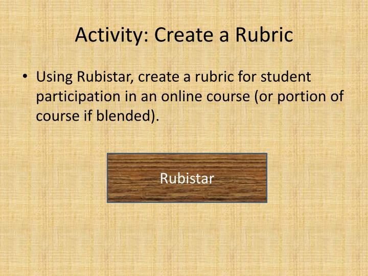 Activity: Create a Rubric