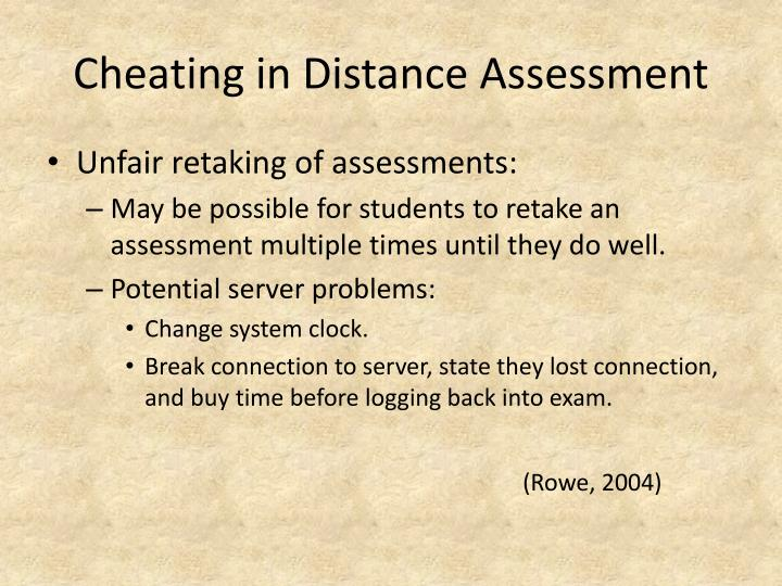 Cheating in Distance Assessment