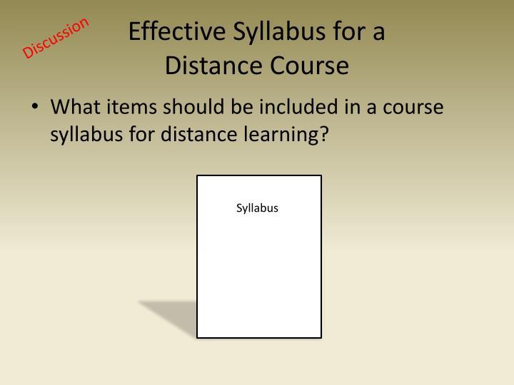 Effective Syllabus for a