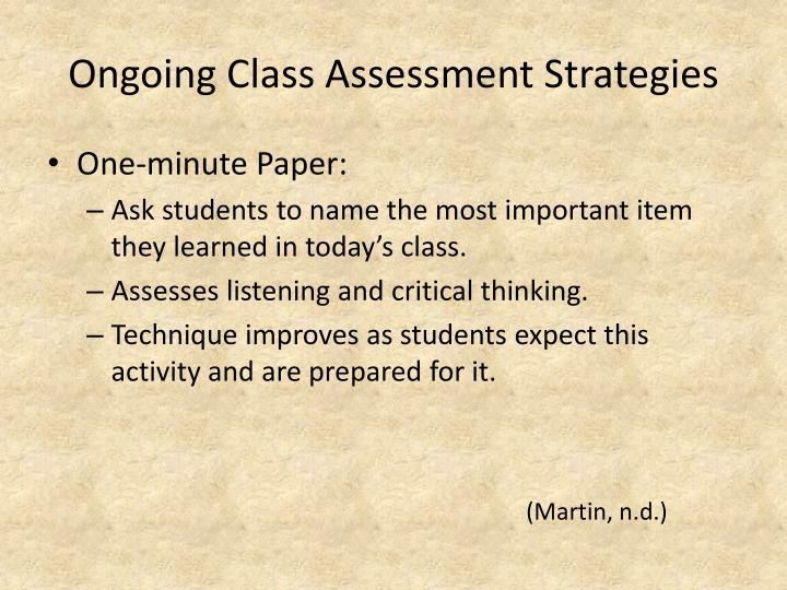 Ongoing Class Assessment Strategies