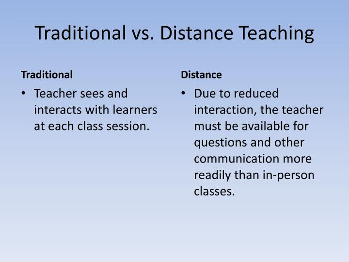 Traditional vs. Distance Teaching