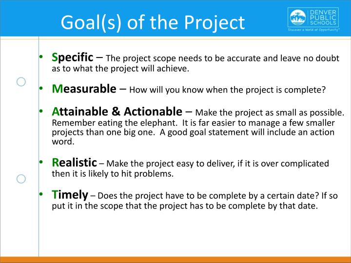 Goal(s) of the Project