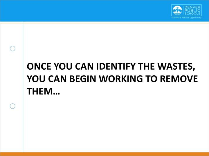 Once you can identify the wastes, you can begin working to remove them…