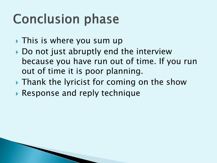 Conclusion phase