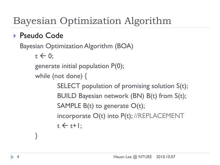 Bayesian Optimization Algorithm