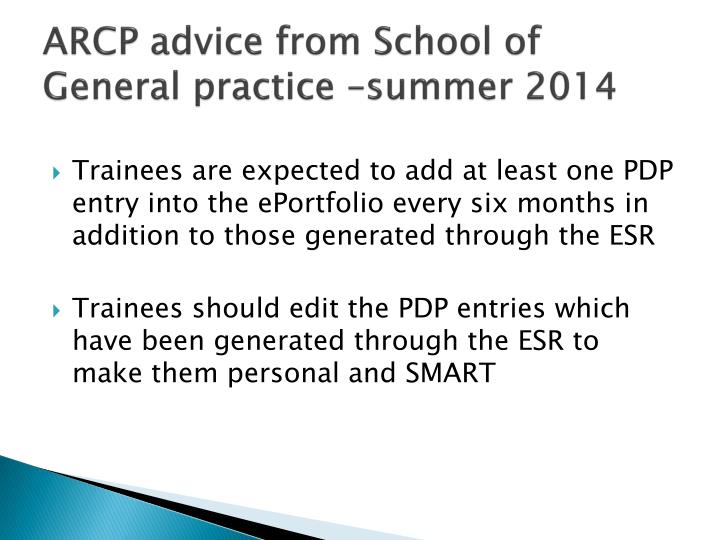 Arcp advice from school of general practice summer 2014