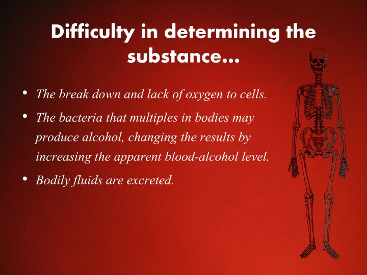 Difficulty in determining the substance…