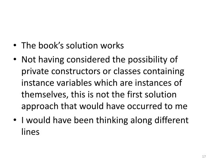 The book's solution works