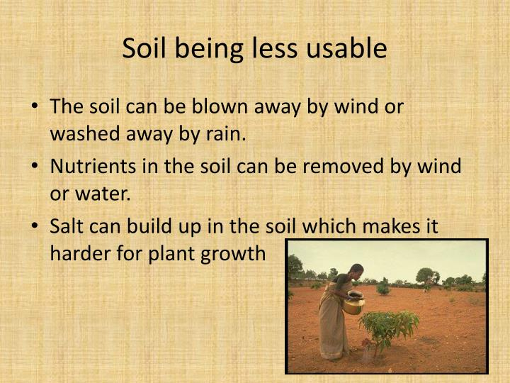 Soil being less usable