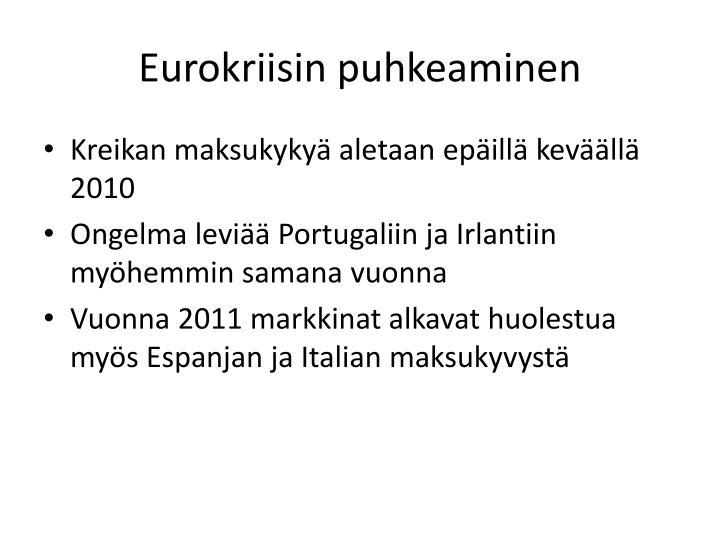 Eurokriisin puhkeaminen