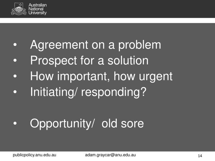 Agreement on a problem