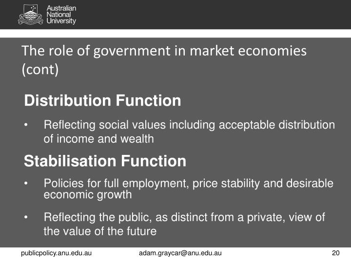 The role of government in market economies (cont)