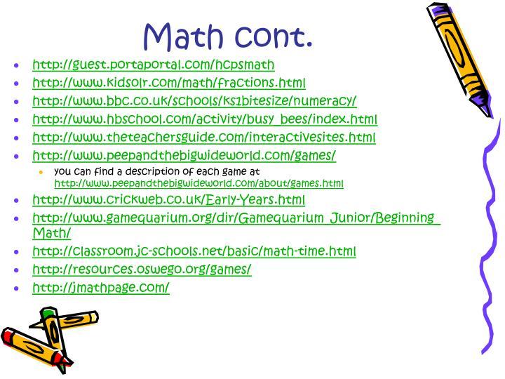 Math cont