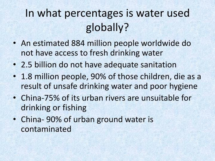 In what percentages is water used globally?