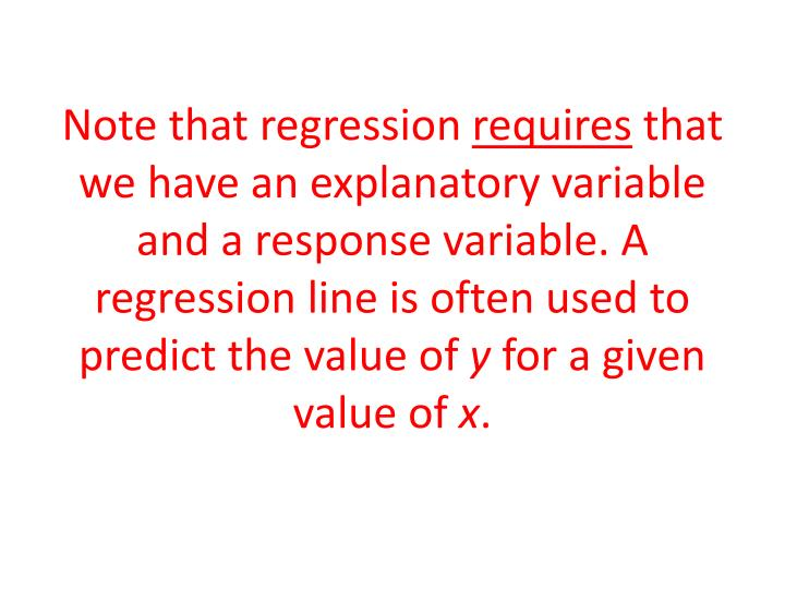 Note that regression