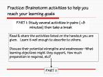 practice brainstorm activities to help you reach your learning goals