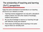the scholarship of teaching and learning sotl perspective