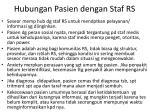 hubungan pasien dengan staf rs