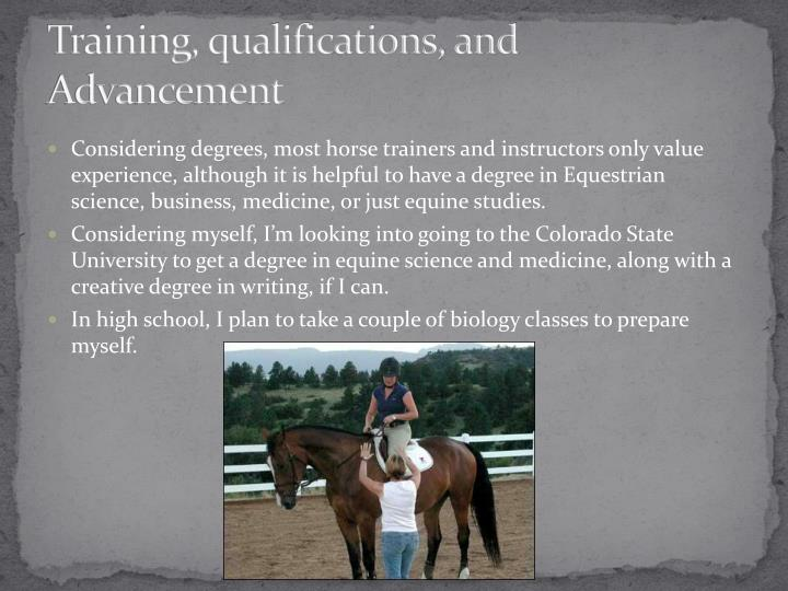Training, qualifications, and Advancement