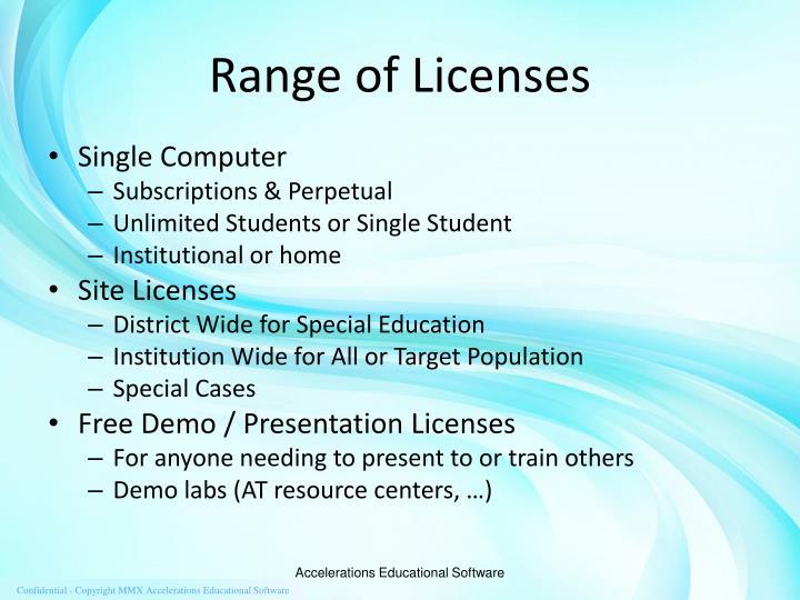 Range of Licenses
