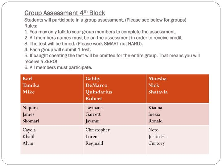 Group Assessment