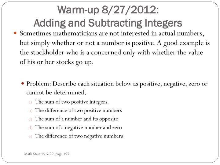 Warm up 8 27 2012 adding and subtracting integers