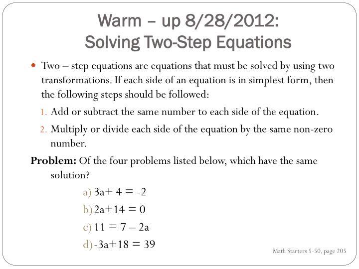 Warm – up 8/28/2012: