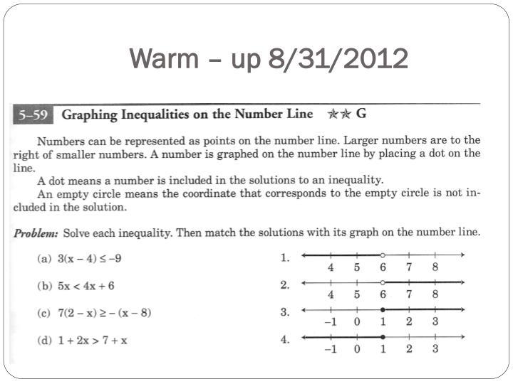 Warm – up 8/31/2012