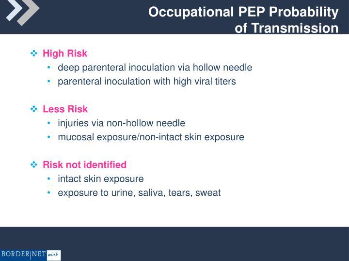 Occupational PEP Probability