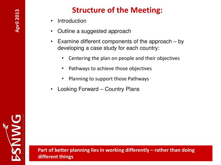 Structure of the Meeting: