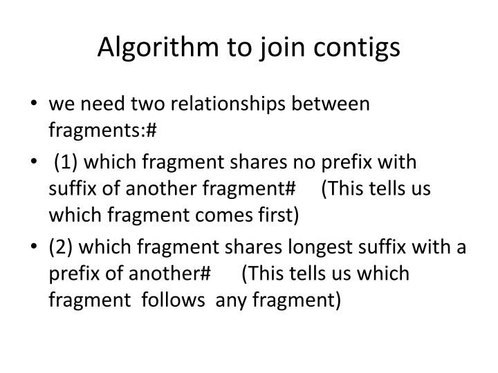 Algorithm to join