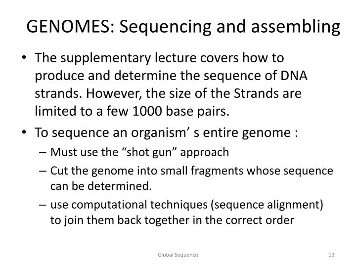 GENOMES: Sequencing and assembling