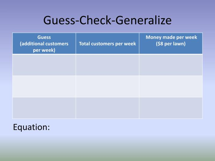 Guess-Check-Generalize