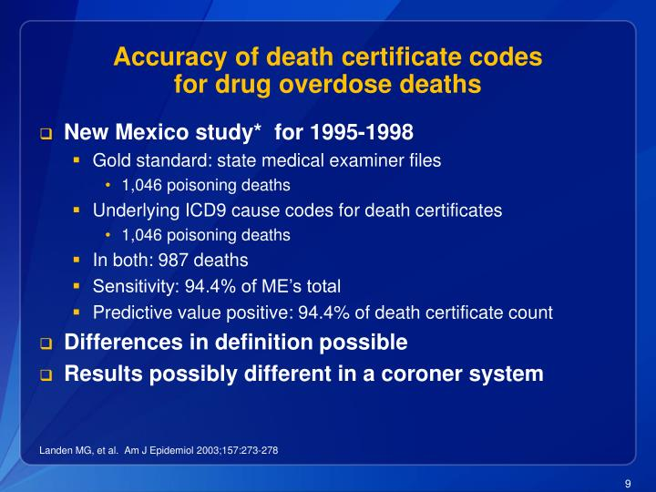 Accuracy of death certificate codes