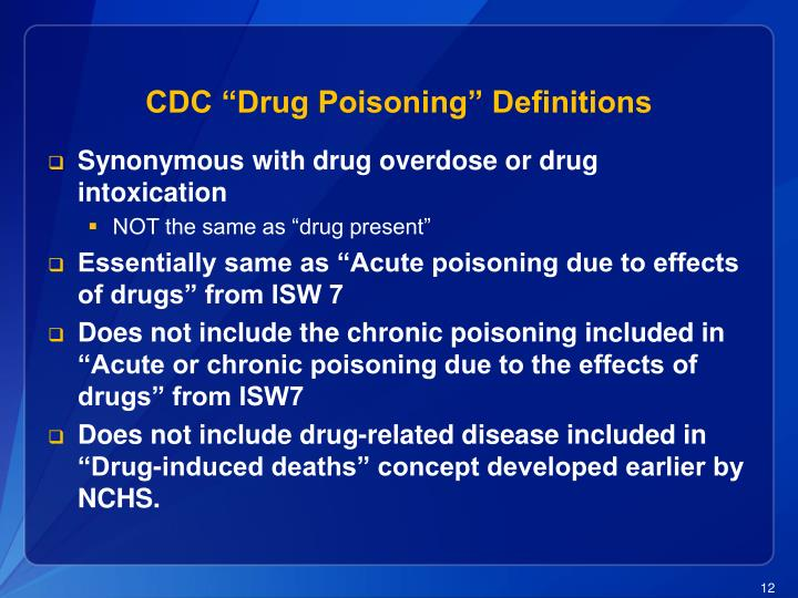 """CDC """"Drug Poisoning"""" Definitions"""