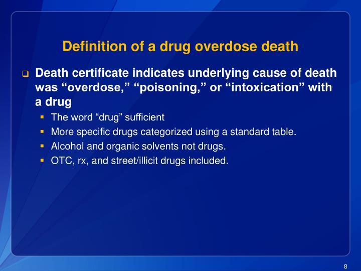 Definition of a drug overdose death