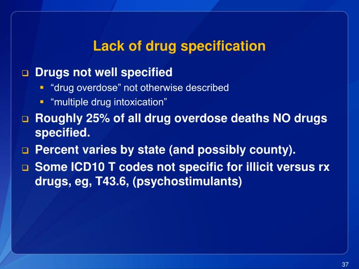 Lack of drug specification