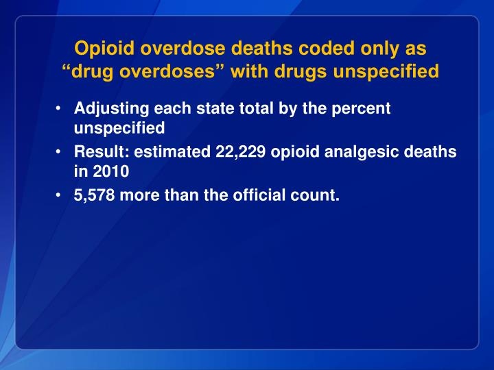 Opioid overdose deaths coded only as