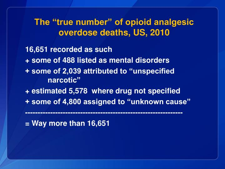 """The """"true number"""" of opioid analgesic overdose deaths, US, 2010"""
