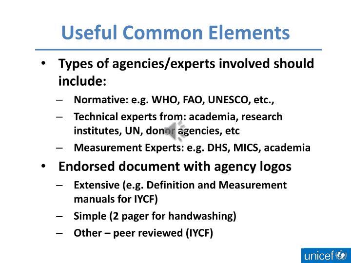 Useful Common Elements