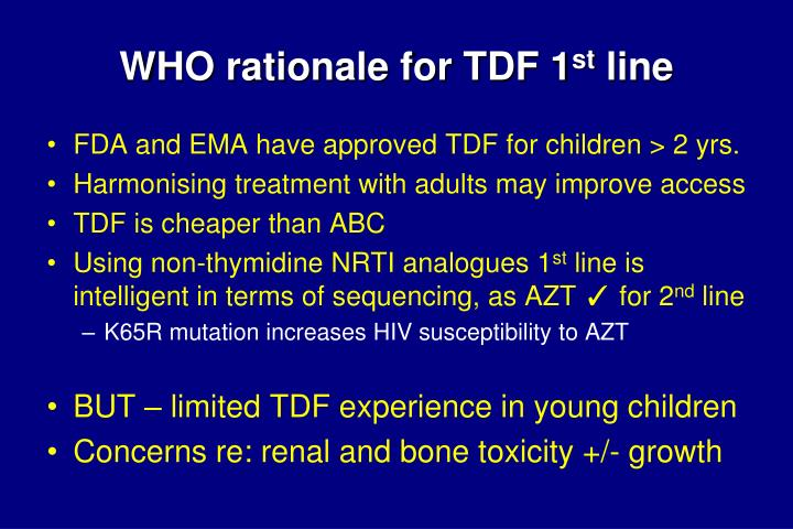 WHO rationale for TDF 1