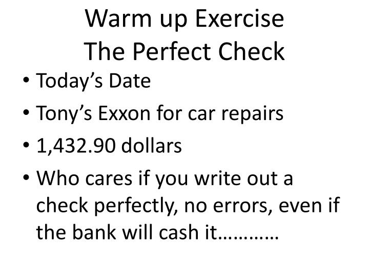 warm up exercise the perfect check n.