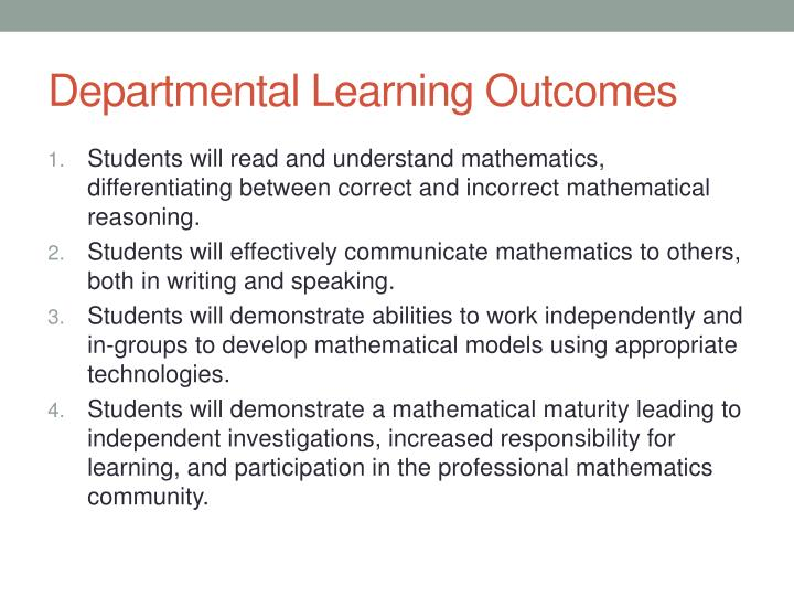 Departmental Learning Outcomes