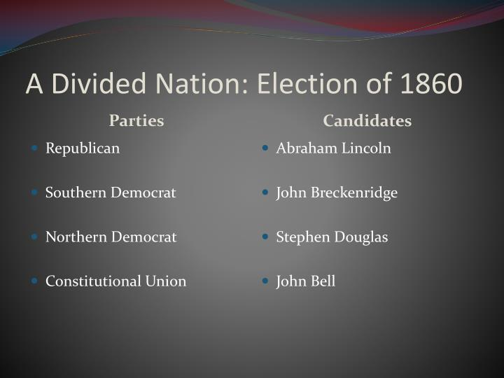 A divided nation election of 1860