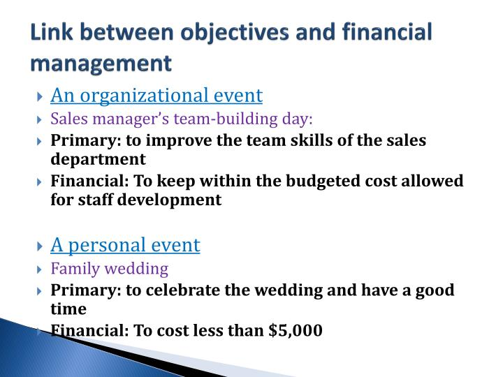 Link between objectives and financial management
