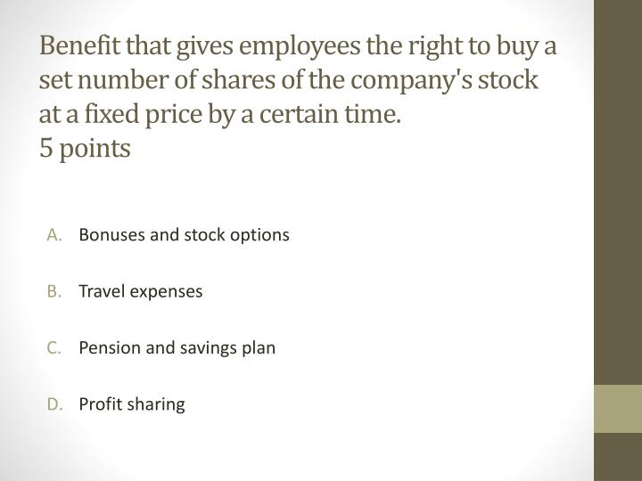 Benefit that gives employees the right to buy a set number of shares of the company's stock at a fixed price by a certain time