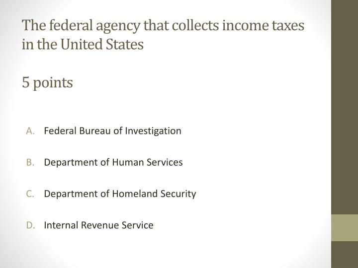 The federal agency that collects income taxes in the United